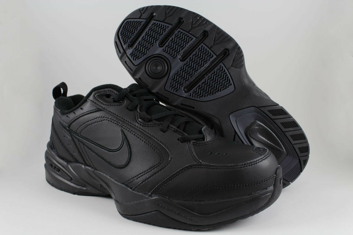 NIKE AIR MONARCH IV 4 EXTRA WIDE 4E EEEE TRIPLE BLACK MONO CROSS TRAINER MENS SZ