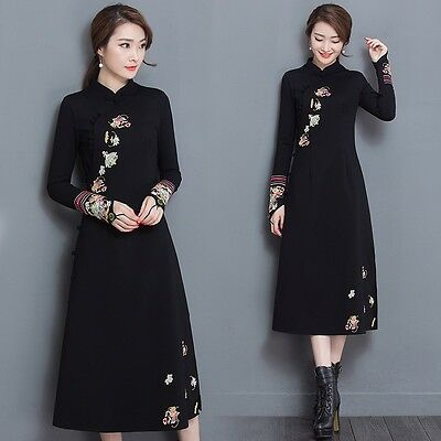 Womens Long Sleeve Dress Cheongsam Frog Button Coat Chinese Traditional Costume