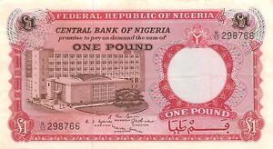 Paper Money: World 1967 P 8 Series B/92 Circulated Banknote J9t Diversified In Packaging Nigeria 1 Pound Nd