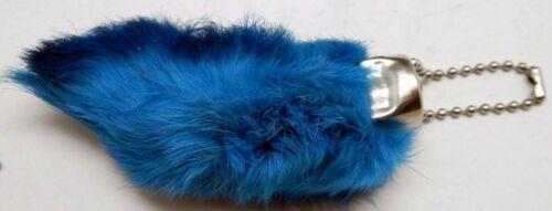 New Blue Lucky Rex RABBITS FOOT Key Chain Zipper Pull Charm School Graduation