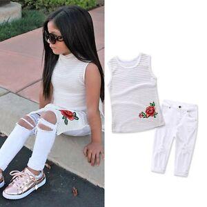 09a479a3e13b 2PCS Summer Kids Baby Girls Outfits T-shirt Tops Dress+Jeans Pants ...