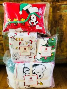 Pottery-Barn-Kids-Peanuts-Holiday-Twin-Quilt-Sheet-Set-Euro-Sham-Snoopy-Pillow