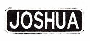 RICK White on Black Iron on Name Tag Patch for Biker Vest NB248