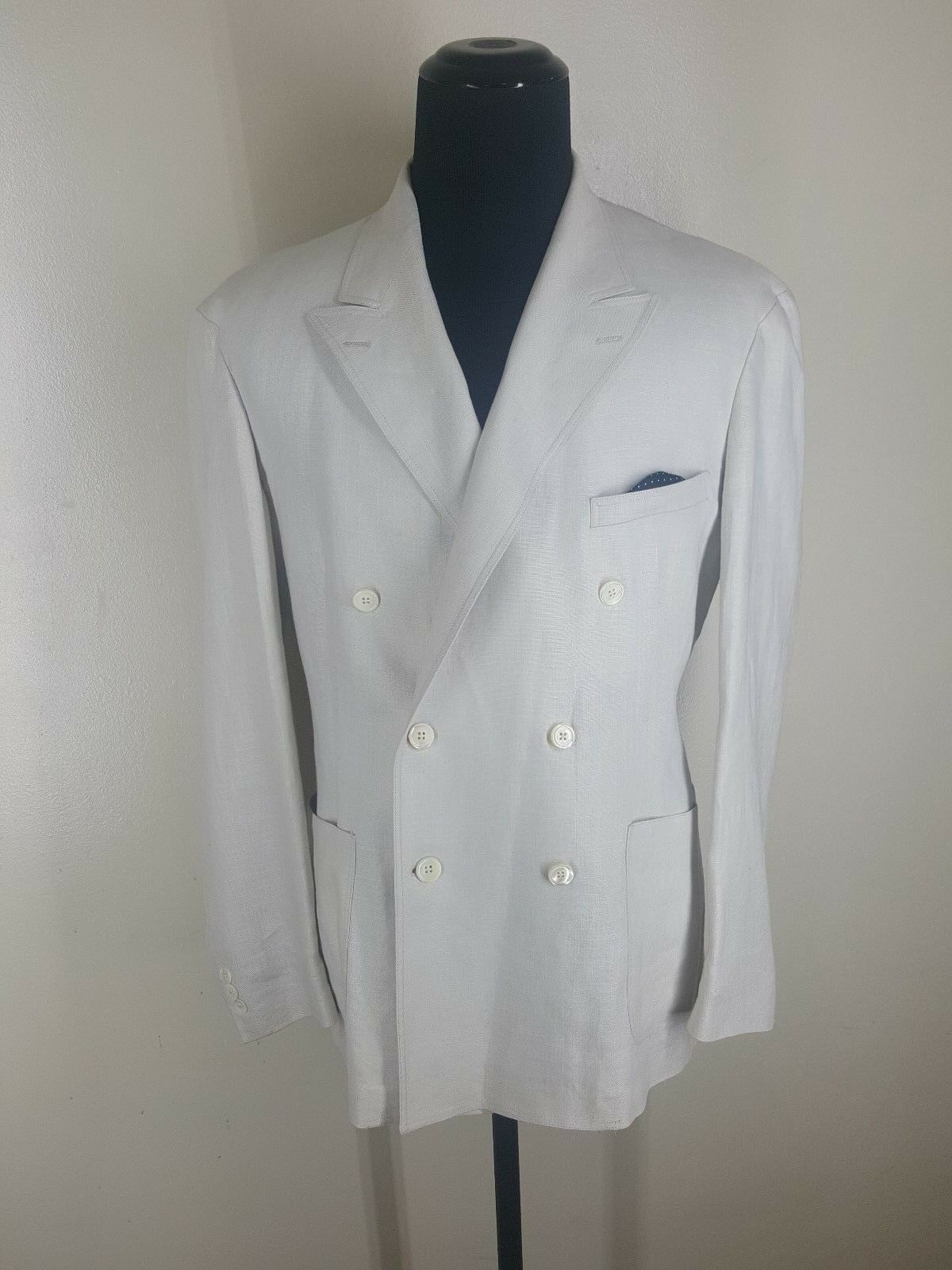 RALPH LAUREN RRL Made In USA 100% Linen Double Breasted Blazer No Vents 44-46 R