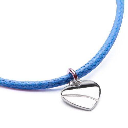 MATERIA Textil Gravur Armband mit Herz Anhänger 925 Silber blau 13-24cm in Box