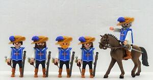 5 X Mosqueteiro Playmobil Soldado A Cavalo Hauptmann Mosqueteiros para d´artagnan Rar