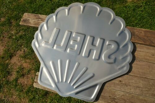 Motor Oil /& Gasoline Shell Pecten Embossed Tin Metal Sign Gas Station