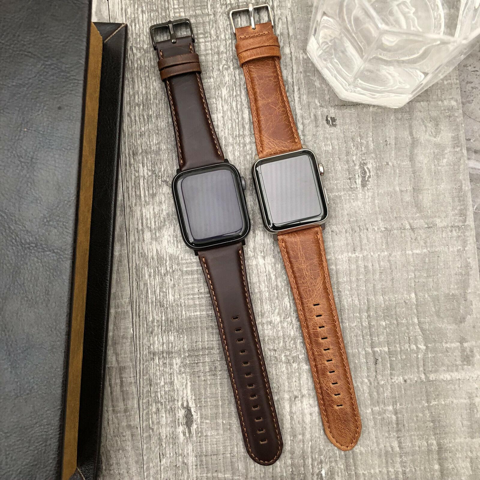 iwatch: IN Pelle Orologio Iwatch Polso Cinturino Per Apple Serie 6 Se 5 4 42mm 44mm