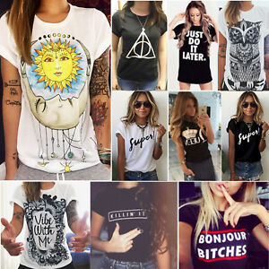 Women-Print-Graphic-Lady-T-Shirt-Summer-Short-Sleeve-Loose-Blouse-Top-Plus-Size