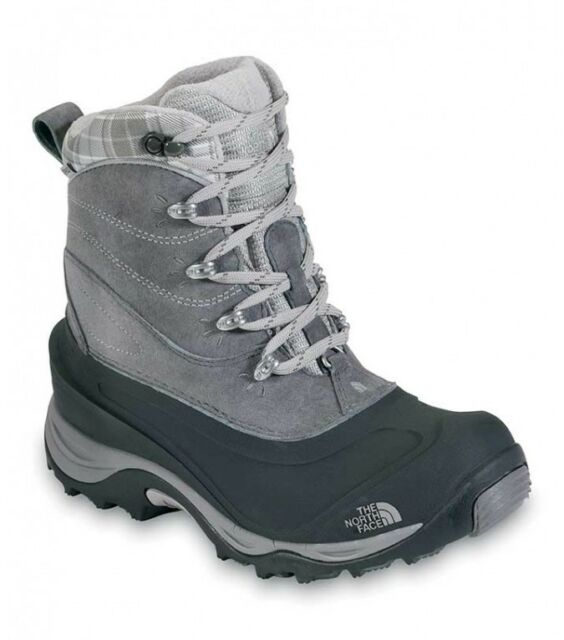 THE NORTH FACE LADIES CHILLKAT II WINTER BOOTS GREY BLACK WATERPROOF