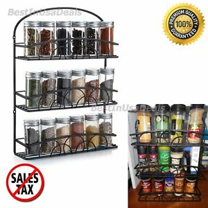 Image Is Loading Spice Rack 3 Tier Wall Holder Storage Shelf