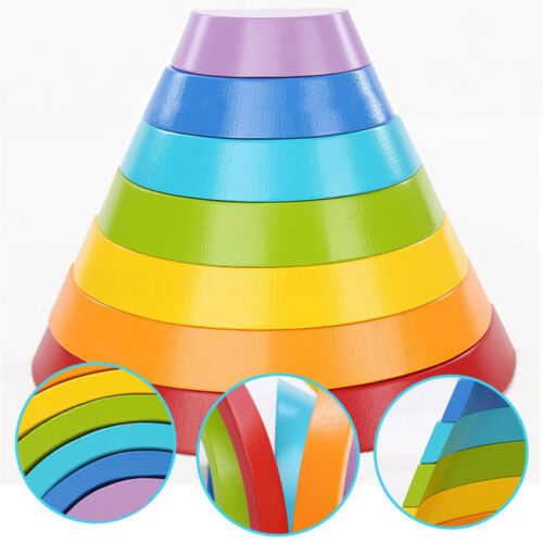 7 Color Wooden Stacking Rainbow Shape Brick Kids Childrens Educational NZ