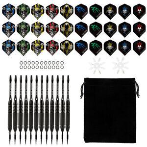 12-Dartpfeile-Steel-darts-mit-15-Dartspitzen-Ghost-verchromt-24g-schwarz