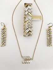 MICHAEL KORS Chevron Fringe Gold Crystal Necklace/Bracelet/Earrings MKJ6054 $355