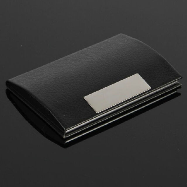 New Black Pocket Leather Metal Business ID Credit Card Holder Case Wallet Hoc