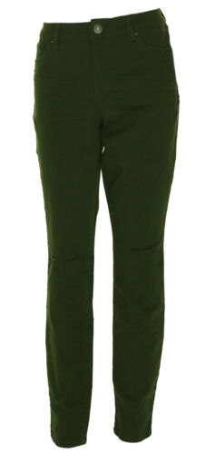 Style /& Co Women/'s Mid Rise Skinny Leg Ripped Colored Jeans Olive Green $54
