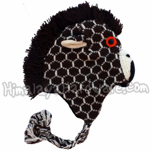 Knit Wool Giraffe Hat ear flap animal womens girls youth adult child mane face