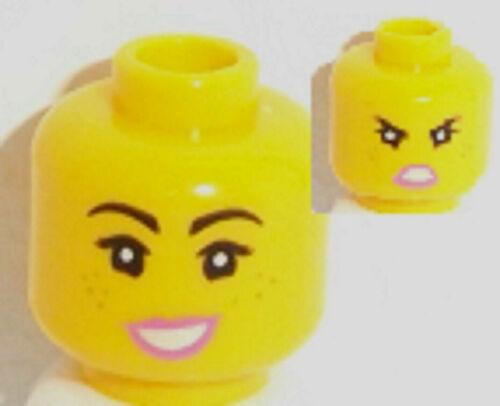 Lego Version Jaune Femelle Tête X 1 à double face avec Smile /& Angry Pattern