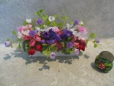 """3/"""" miniature doll//dollhouse White wood window box//polymer lavender//pink roses #9"""