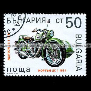 NORTON-500-CS1-Side-car-1931-BULGARIE-Timbre-Moto-Classic-Bike-Stamp-13