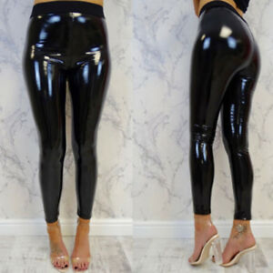 682071c8509e2 Image is loading Womens-Sexy-Black-Pants-Slim-Soft-Strethcy-Shiny-