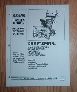 craftsman 247 885680 snow thrower owners manual with illustrated rh ebay ie craftsman 26 inch snow blower owners manual Snow Blowers at Sears Sale