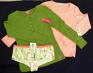 New-sz-S-lot-ALFANI-JENNI-Pajama-Top-Sleep-Shirt-Low-rise-Panties-Pink-Green-SM