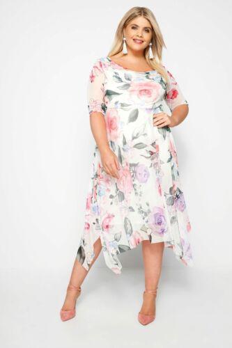 Yours vêtements femmes taille plus Blanc Floral Mesh Midi robe