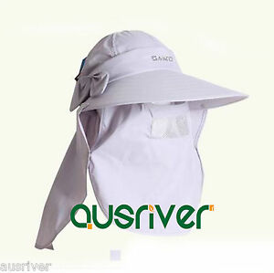 a74babc8 Jungle Fishing Hat Cap Face Protector Neck Cover Flap Wide Brim Sun ...
