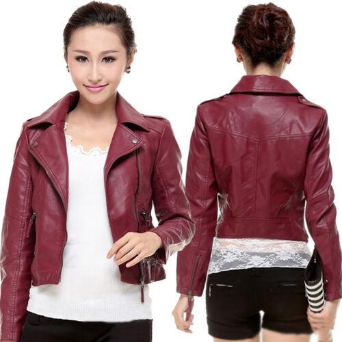 Women Ladies Motorcycle Pu Soft Leather Vintage Zipper Jacket Lapel Coat Outwear by Ebay Seller