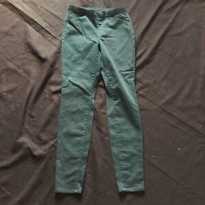 Uniqlo-Houndstooth-Pants-Green-Woman-039-s-Small-Khaki-Preppy-Career-Black
