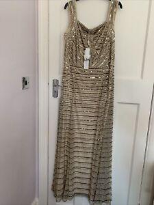 New-Sequinned-Nude-Full-Length-Ballroom-Dress-Size-16-18