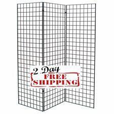 Display Grid Rack Three 2 X 6 Ft Panel Z Unit Metal Stand Retail Store Craft Art