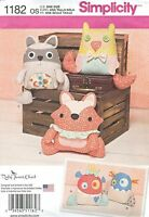 Simplicity 1182 Stuffed Animals And Monsters Sewing Pattern