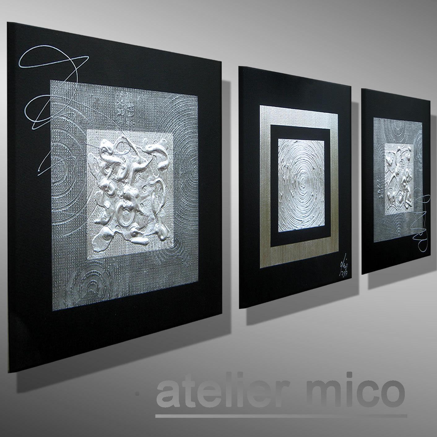 Modern Abstrait images mico Original Peinture Artiste Image Art argent argent argent toile   Vogue  a577f2