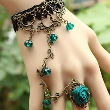 STEAMPUNK.Women BLUE FLOWER Gothic/BOHO.CHARM/Lace Bracelet  Retro/Jewelry Prom