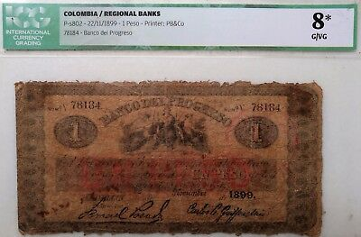 RARE PAPER MONEY REGIONAL BANK COLOMBIA 1 PESO BANK OF PROGRESS 1899 CERTIFICATE