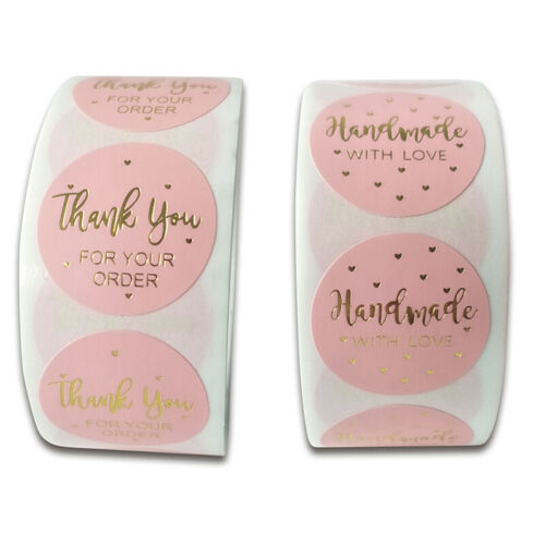 500pcs Pink Thank You For Your Order Sticker Kraft Labels Sticker  JM