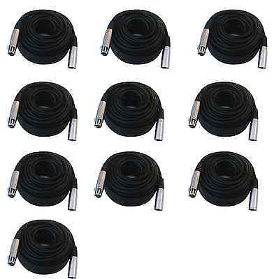 10 lot 50ft xlr male female 3pin MIC Shielded Cable microphone audio cord pack