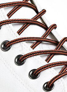 ROUND-BLACK-and-RUST-BROWN-SHOE-LACES-LONG-SHOELACES-3mm-wide-11-LENGTHS