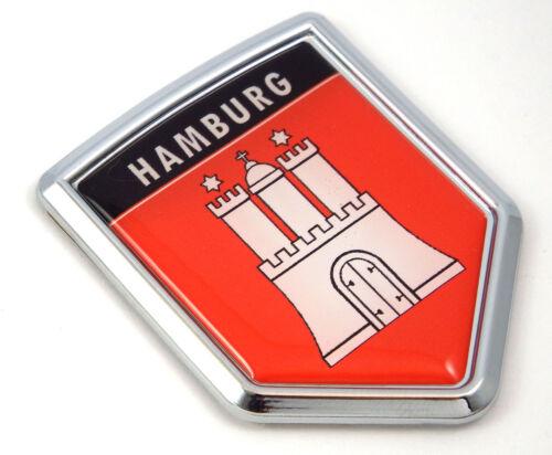 Hamburg Flag Car Chrome Emblem Sticker German city Deutschland