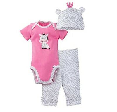 New Baby Girls 12 Months 3 Piece set Dog Outfit Gerber Onsie Hat Shorts
