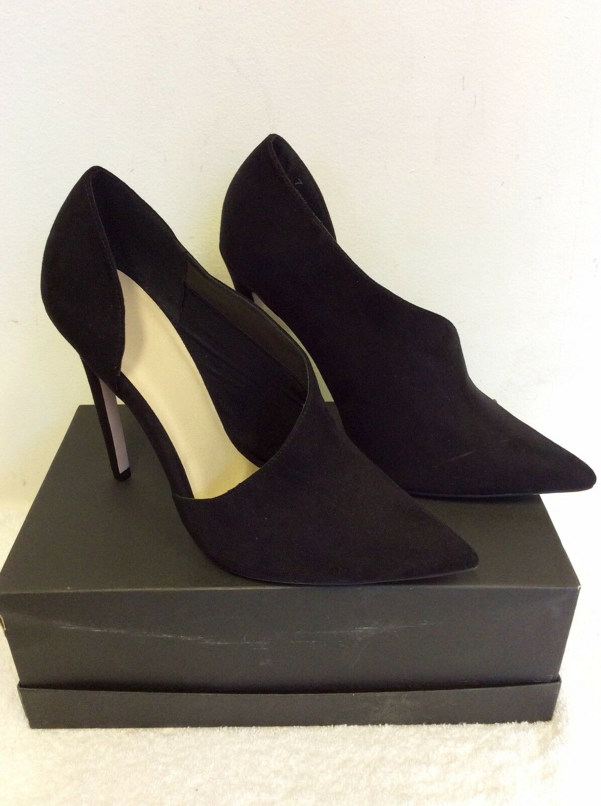 Neuf Asos Noir Daim Synthétique Talon Haut Chaussure Bottes Taille 7 40 7  14d5f8270d38