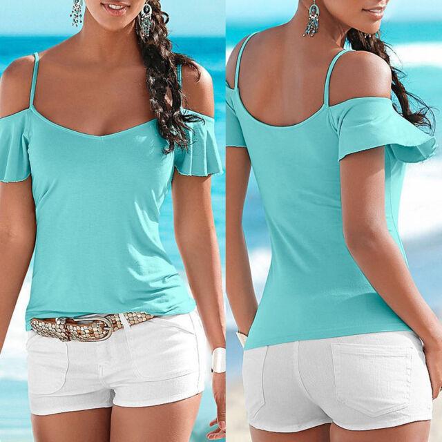 Fashion Women Summer Vest Top Short Sleeve Blouse Casual Tank Tops T-Shirt EY