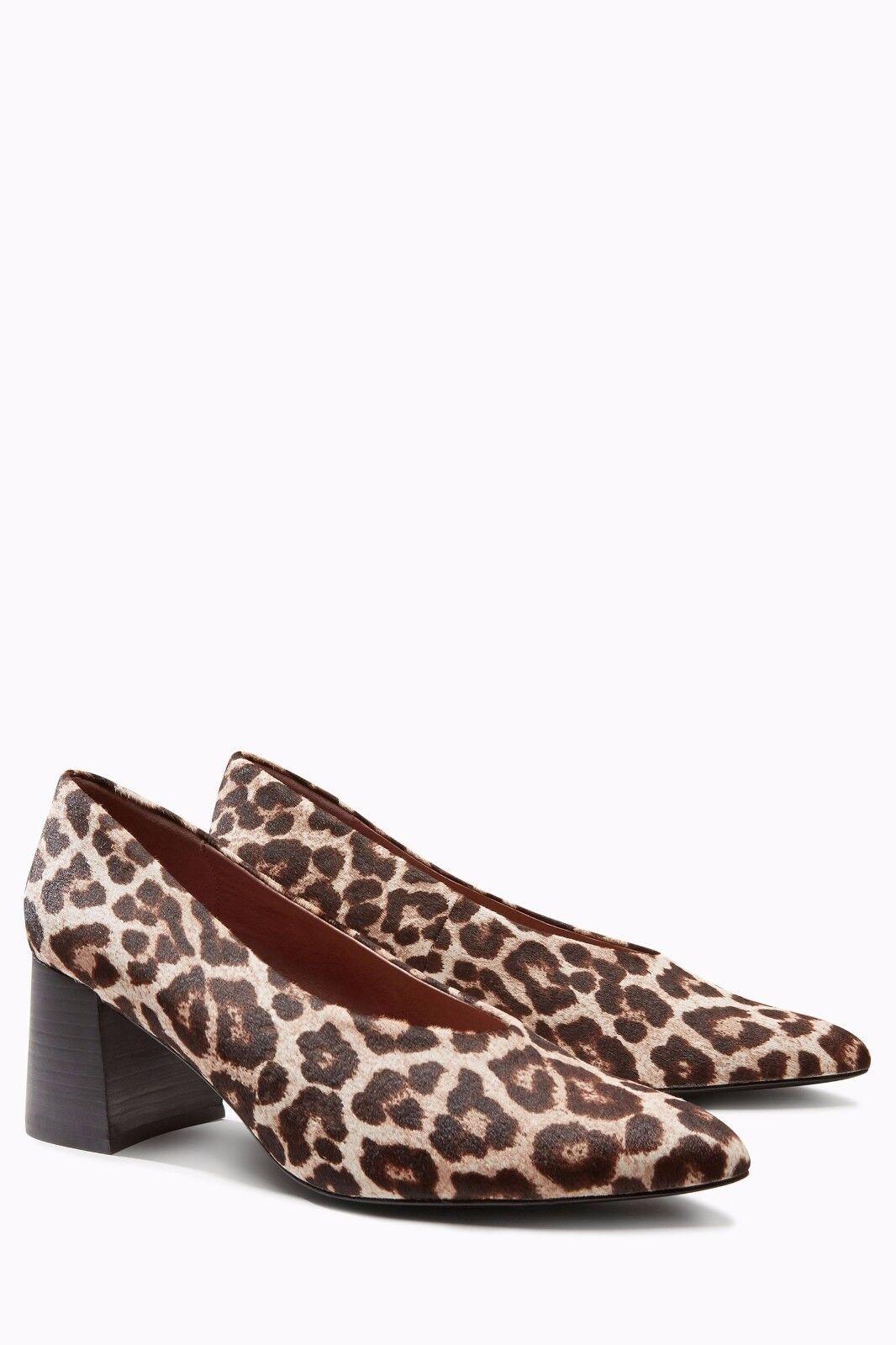 Next Heel Leather Leopard Print Block Heel Next Court Shoes 9/43 2c38da