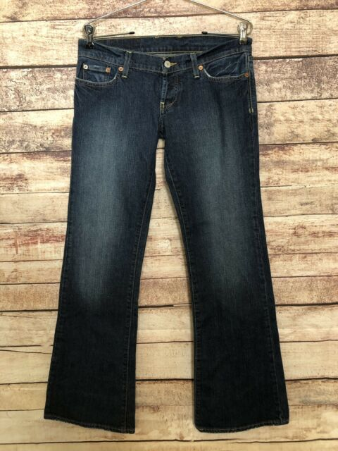 Lucky Brand Jeans Womens Button Fly Lil Maggie dark wash Denim 28R Bootcut long