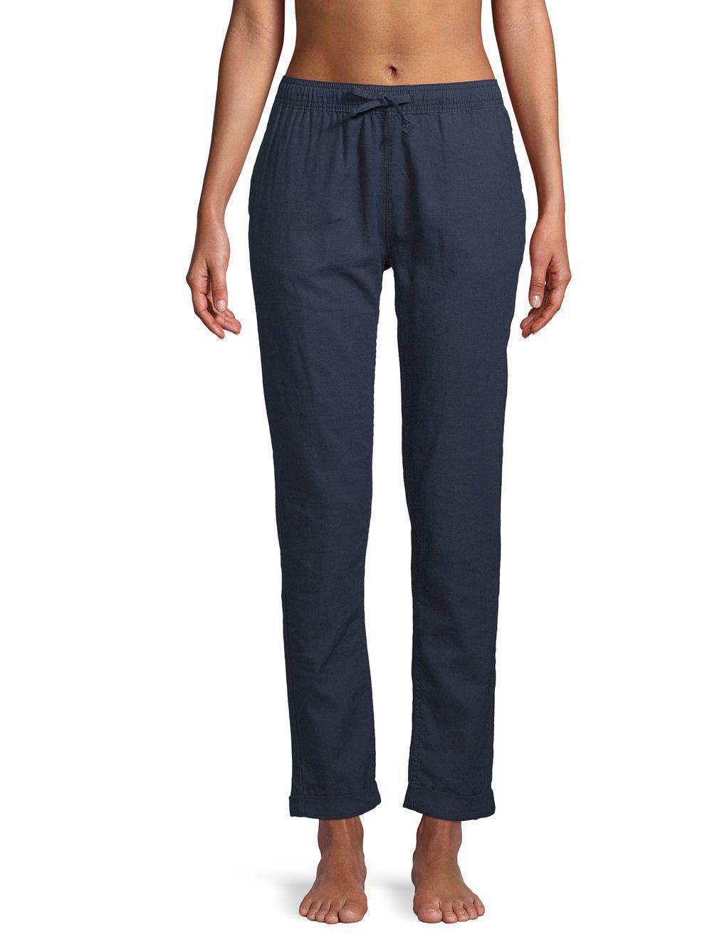 NEW NWT  150  Onia Ella Linen Cotton Coverup Pants Navy Blau Größe Medium m