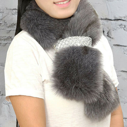 Winter Women Lady Faux Fur Scarf Neck Warmer Fluffy Wrap Collar Stole Shawl Lot