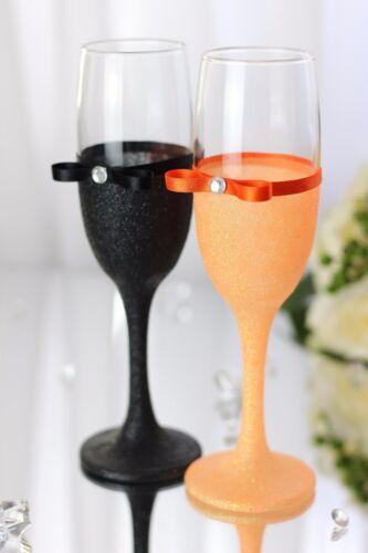 Aniversary Glittered Mr /& Mrs// Bride /& Groom Champagne flutes Set of 2//Wedding