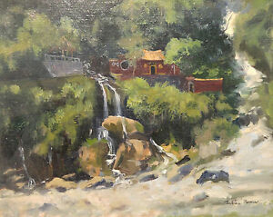 ORIGINAL-SIGNED-OIL-PAINTING-JULIAN-BARROW-ASIAN-LANDSCAPE